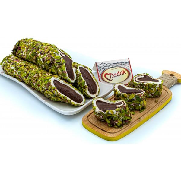 File Antep Fıstığı Kaplamalı Çikolata Dolgulu Lokum